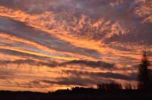 Brinnande himmel över Aspö